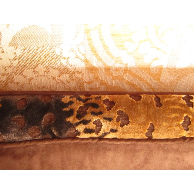 Gold Contemporary Southwood Damask and Chenille Leopard Print Settee with Pillows - 3 Pieces For Sale - Image 8 of 12