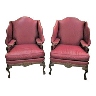Leather Chairs by Harden - a Pair of Wingback Leather Library Style