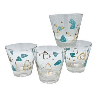 Mid Century Atomic Amoeba Turquoise and Gold Whisky Cocktail Glasses - Set of 4 For Sale