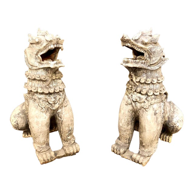 Antique Chinese Terra Cotta Foo Dogs-a Pair For Sale