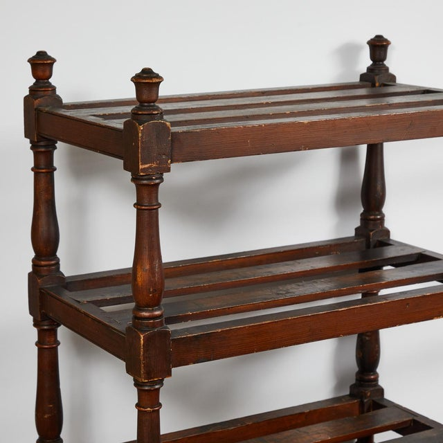 Rustic Tall Country Oak Étagère With Six Slated Shelves For Sale - Image 3 of 6