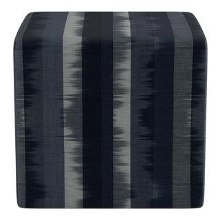Cube Ottoman in Indigo Ikat Stripe For Sale