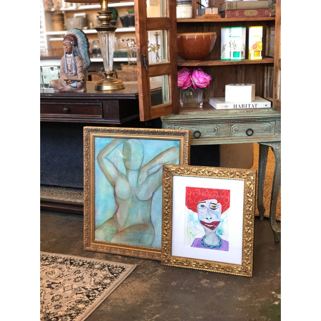 Contemporary Folk Art Portrait Mixed-Media Painting by Robin Thompson, Framed For Sale In Atlanta - Image 6 of 7
