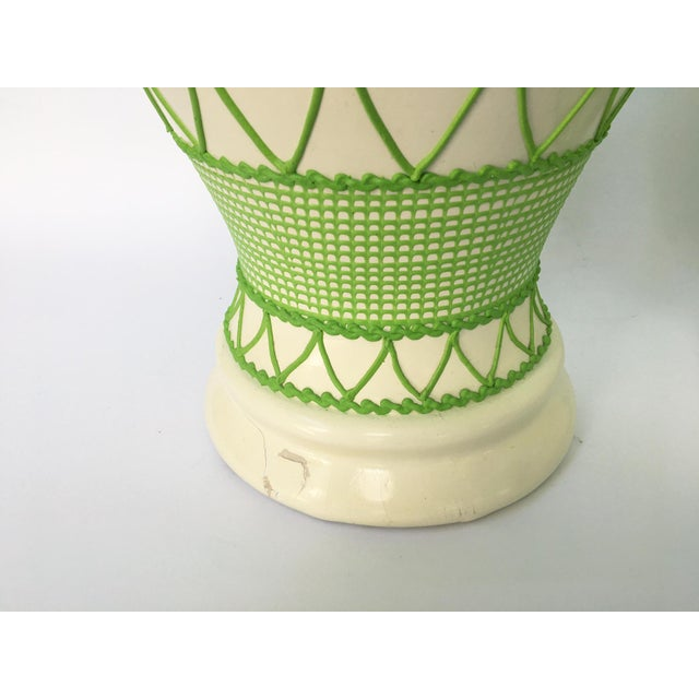 Green & White Hollywood Regency Table Lamps - A Pair - Image 5 of 5