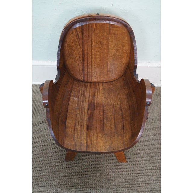 Vintage Oak Barrel Lounge Chairs - A Pair For Sale - Image 7 of 10