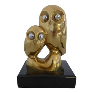 Vintage Brass Owl Sculpture or Paperweight For Sale