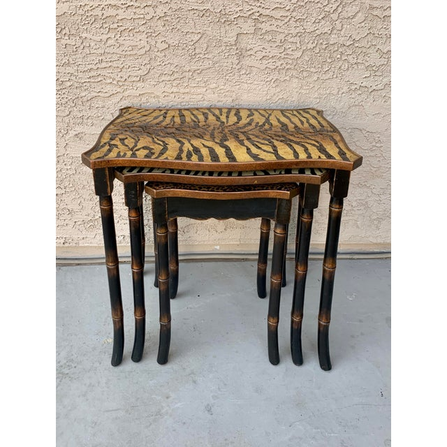 1990s Safari Style Faux Bamboo Resin Nesting Tables - Set of 3 For Sale - Image 5 of 12