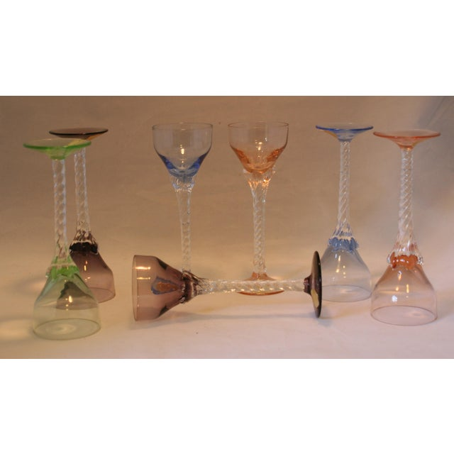 Set of 7 Blefeld Hand Crafted Crystal Multi Color Stemmed Cocktail Cordial Glasses For Sale - Image 5 of 7