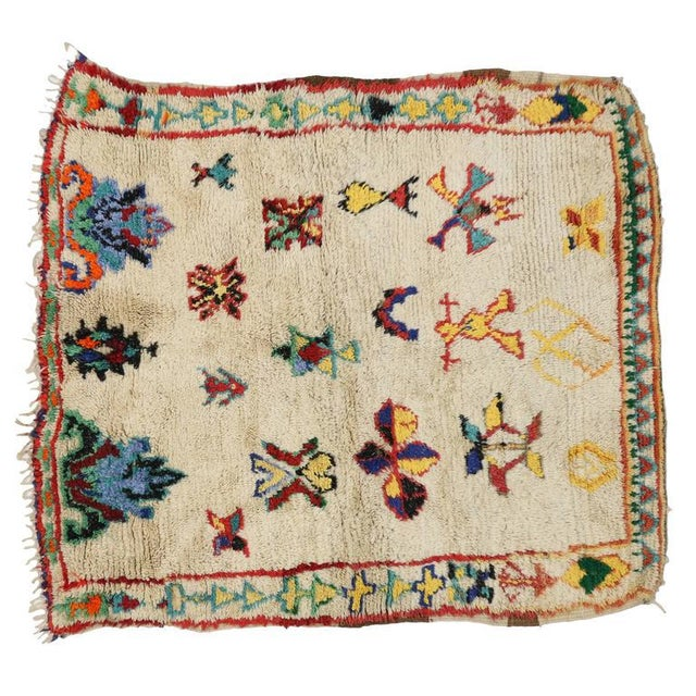 Late 20th Century Vintage Berber Moroccan Azilal Rug - 4'3 X 5'00 For Sale - Image 5 of 7