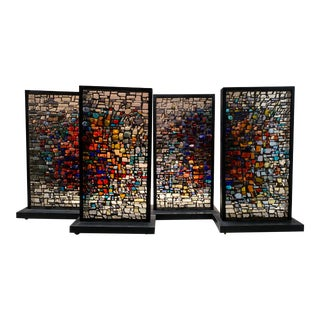 Monumental Slag Glass Mosaic Divider / Panel / Window - Custom Made to Order For Sale