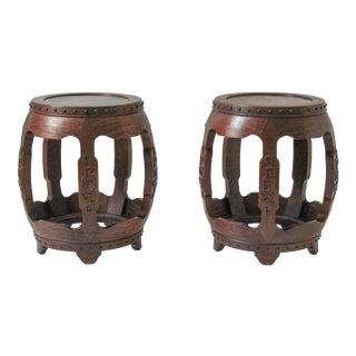 Antique Chinese Rosewood Drum Stools -- A Pair For Sale