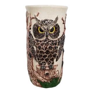 Vintage 1970's Ceramic Owl Umbrella Stand For Sale