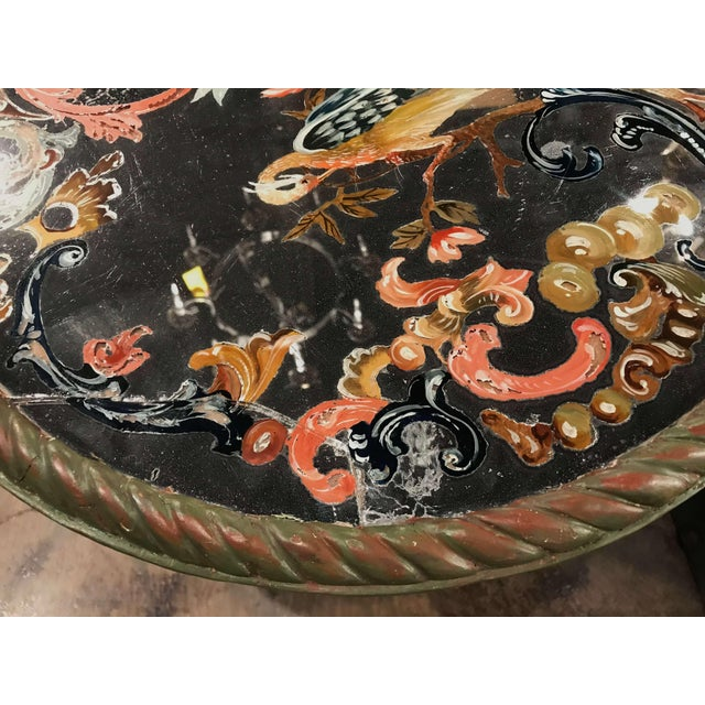 Wood 19th Century Italian Carved Giltwood and Painted Side Table With Eglomise Top For Sale - Image 7 of 8