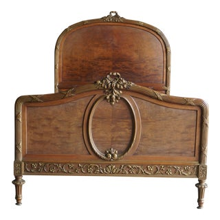 Late 19th Century Antique French Walnut Twin Bed For Sale