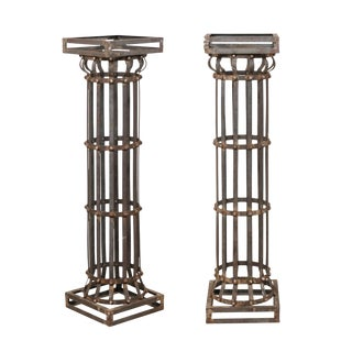 Pair of Contemporary American Iron Architectural Columns For Sale