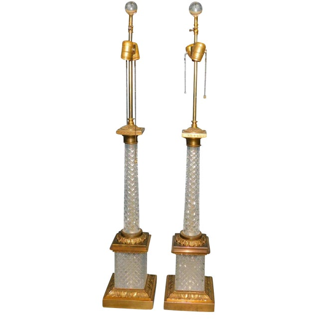 Cut Crystal & Gilt Bronze Lamps - A Pair For Sale