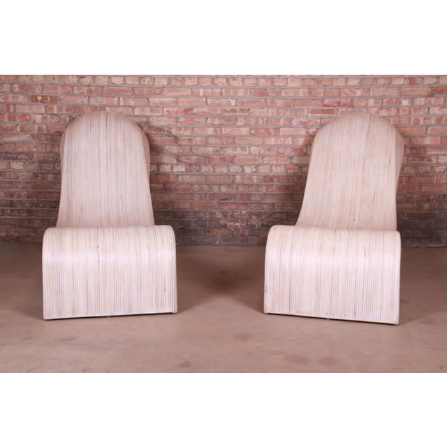 Betty Cobonpue Sculptural Split Reed Rattan Chaise Lounges, Pair For Sale In South Bend - Image 6 of 13
