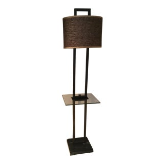 Uttermost Bronze Marble Base, Rattan Shade Glass Tray Floor Lamp For Sale