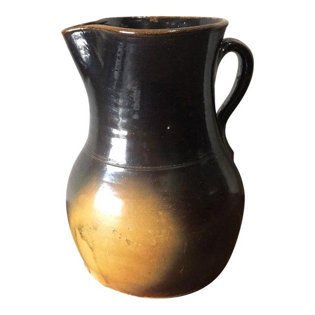 Large Antique Rustic Stoneware Ceramic Pitcher For Sale