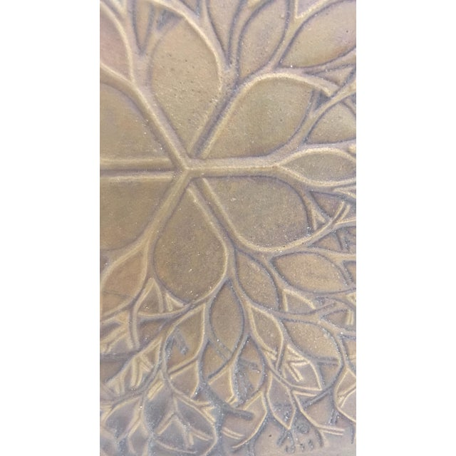 """Abstract 1970s Vintage Ruth Asawa """"Flower"""" Cast Bronze Bas Relief Sculpture For Sale - Image 3 of 7"""
