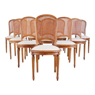Set of 10 French Louis XVI Style Walnut Caned Dining Chairs For Sale