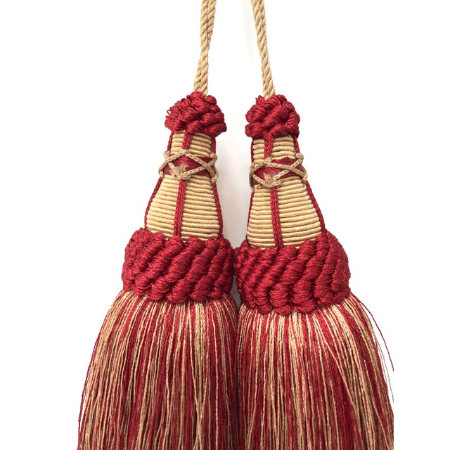 Pair of Key Tassels in Red and Gold With Looped Ruche Trim For Sale - Image 4 of 11
