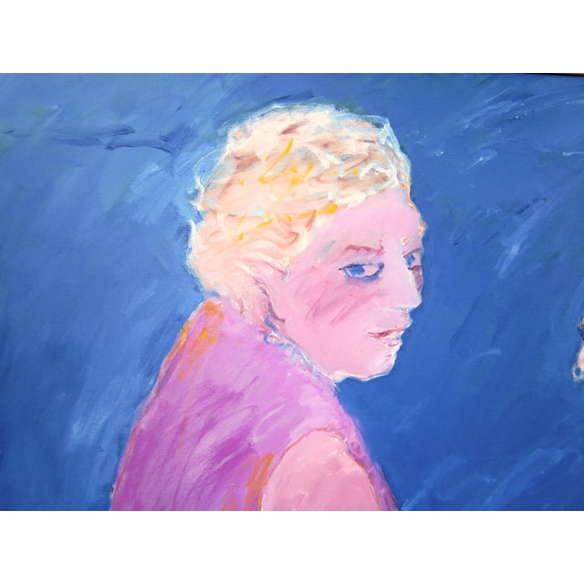 """Canvas 1970s Vintage Suzanne Peters """"Two Women at the Lake"""" Beach Swimmers Oil on Canvas Painting For Sale - Image 7 of 12"""