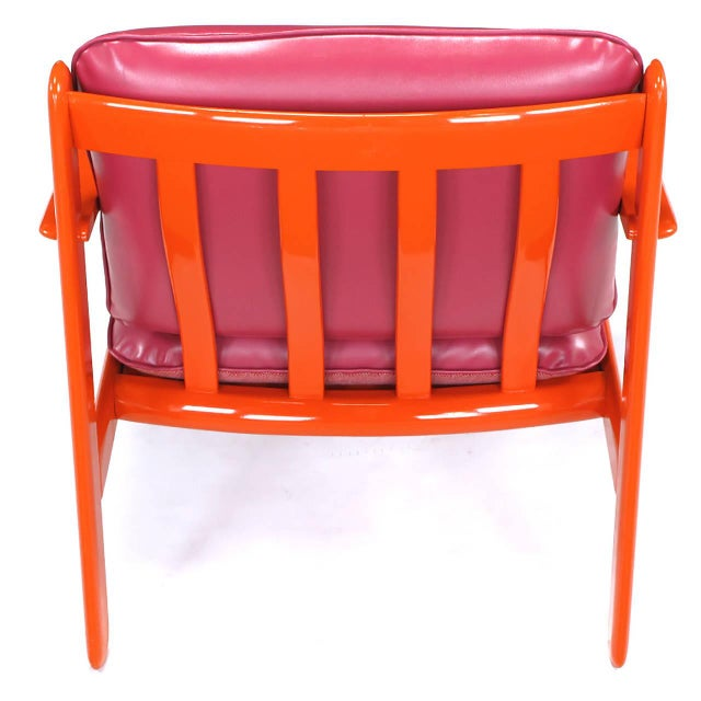Red Pair of Italian Persimmon and Magenta Lounge Chairs For Sale - Image 8 of 10