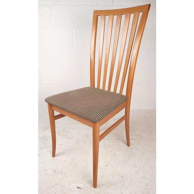Contemporary High Back Maple Dining Chairs - Set of 4 ...