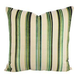"""Romo Umbala in Jade Pillow Cover - 24"""" X 24"""" Épinglé Velvet Multi Green Stripe Large Cushion Cover For Sale"""