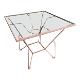 Iron and Glass Mid-Century Garden Table For Sale