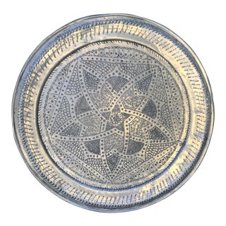1960s Vintage Moroccan Aluminium Tray For Sale