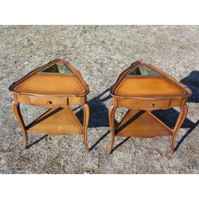 Vintage French Style Leather Top Triangle End Tables - A Pair For Sale - Image 12 of 12