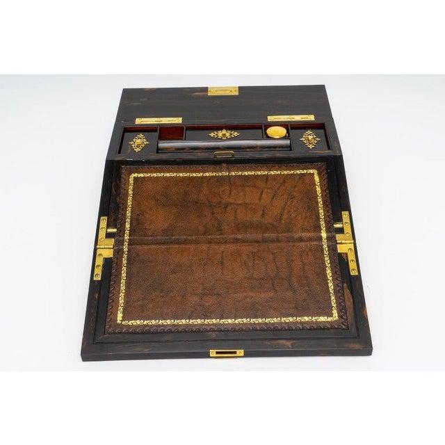 1880s Edwardian Brass & Wood Traveling Lap Desk with Original Key For Sale - Image 11 of 13