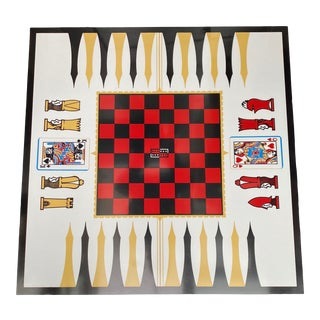 1960s Folding Mid Century Chess Game Table For Sale