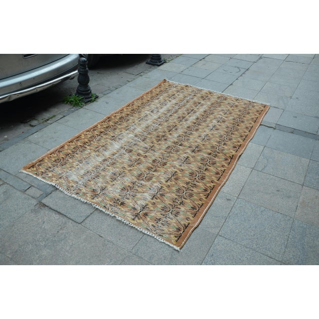 Islamic Turkish Brown Rug - 4′11″ × 7′8″ For Sale - Image 3 of 6