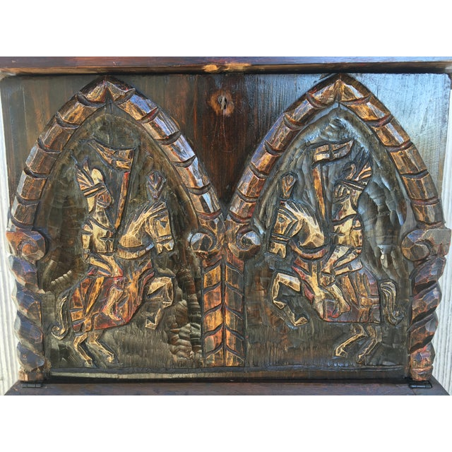 Wood 20th Century Carved and Polichromed Cabinet Bar on Stand Varqueno, Buffet, Spain For Sale - Image 7 of 13