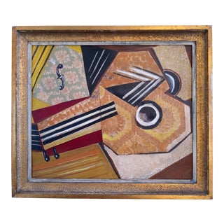 """Mid 20th Century """"Instrument"""" Cubist Mixed-Media Painting, Framed For Sale"""