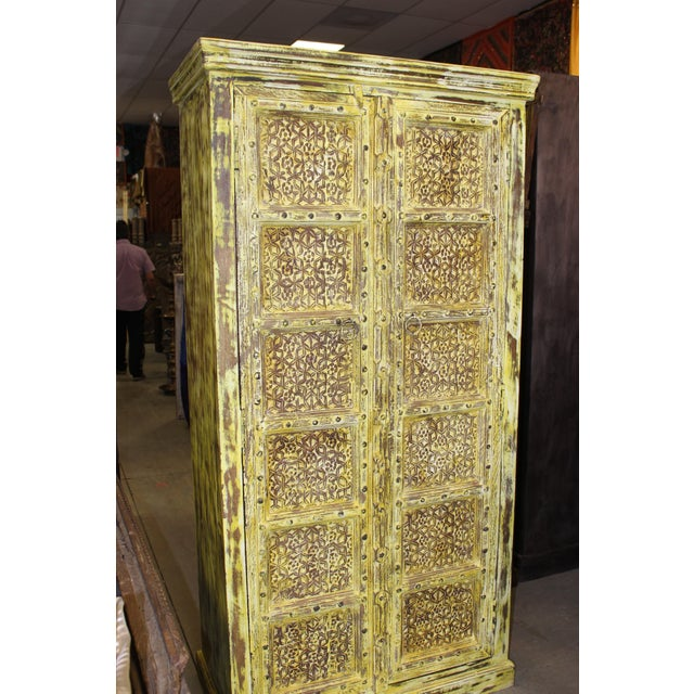 Vintage Yellow Antique Carved Detail Indian Armoire For Sale - Image 6 of 8