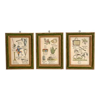 French and German Vocabulary Word Drawing Prints, Set of 3 For Sale