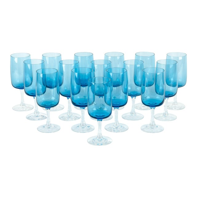 Vintage Crystal Wine / Water Barware Glasses - Set of 16 For Sale
