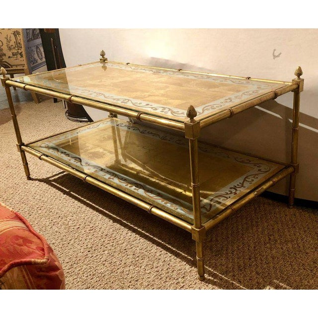 Faux Bamboo Brass And Gold Gilt Glass TwoTier Coffee Table By - Two level coffee table