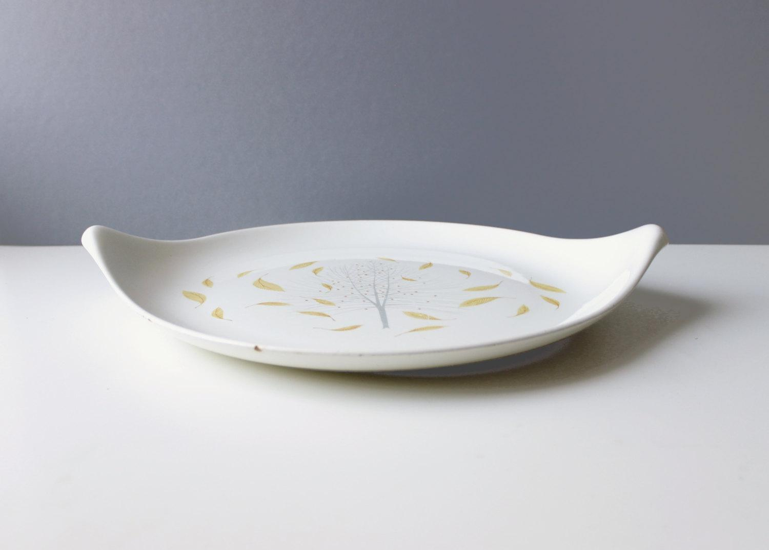 Nice Eva Zeisel For Hallcraft Sunglow Serving Platter Mid Century   Image 3 Of 5