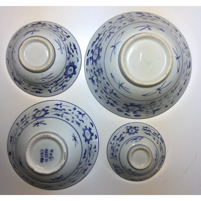 4 Vintage Chinese Blue & White Nesting Bowls - Image 5 of 7
