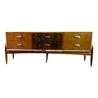 1960s Mid-Century Modern Satinwood, Rosewood & Marble Credenza For Sale