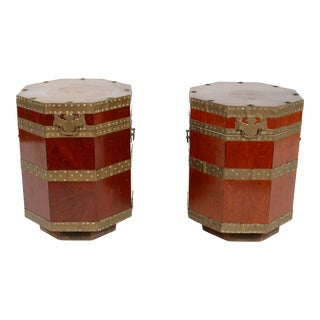 Pair 19th Century English Brass Mounted Lidded Tables For Sale
