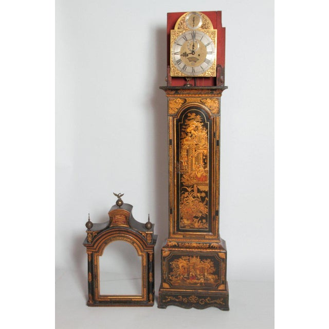 George II Lacquered Chinoiserie Tall Case Clock Inscribed Jno. Fladgate, London For Sale - Image 11 of 13