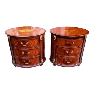 Maitland Smith Oval Inlaid 3-Drawer Nightstands Commode End Tables - a Pair For Sale