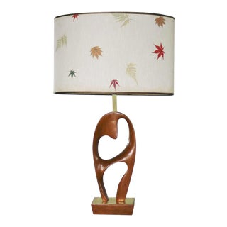 Mid Century Modern Sculptural Biomorphic Walnut and Brass Table Lamp For Sale