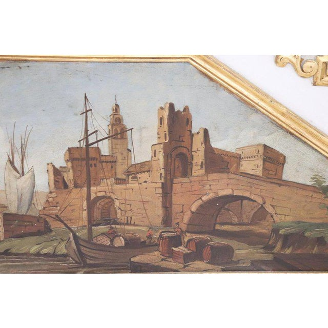 1950s 20th Century, Italian Louis XVI Style Wood Lacquered and Gilded Fireplace Mirror For Sale - Image 5 of 13